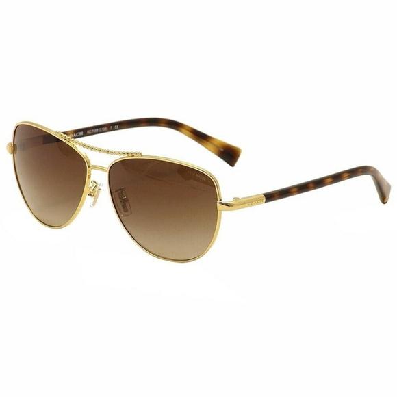 Coach Sunglasses Gold w/Brown Lens
